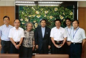 Governor Kabashima and staff with Iwako Iseri